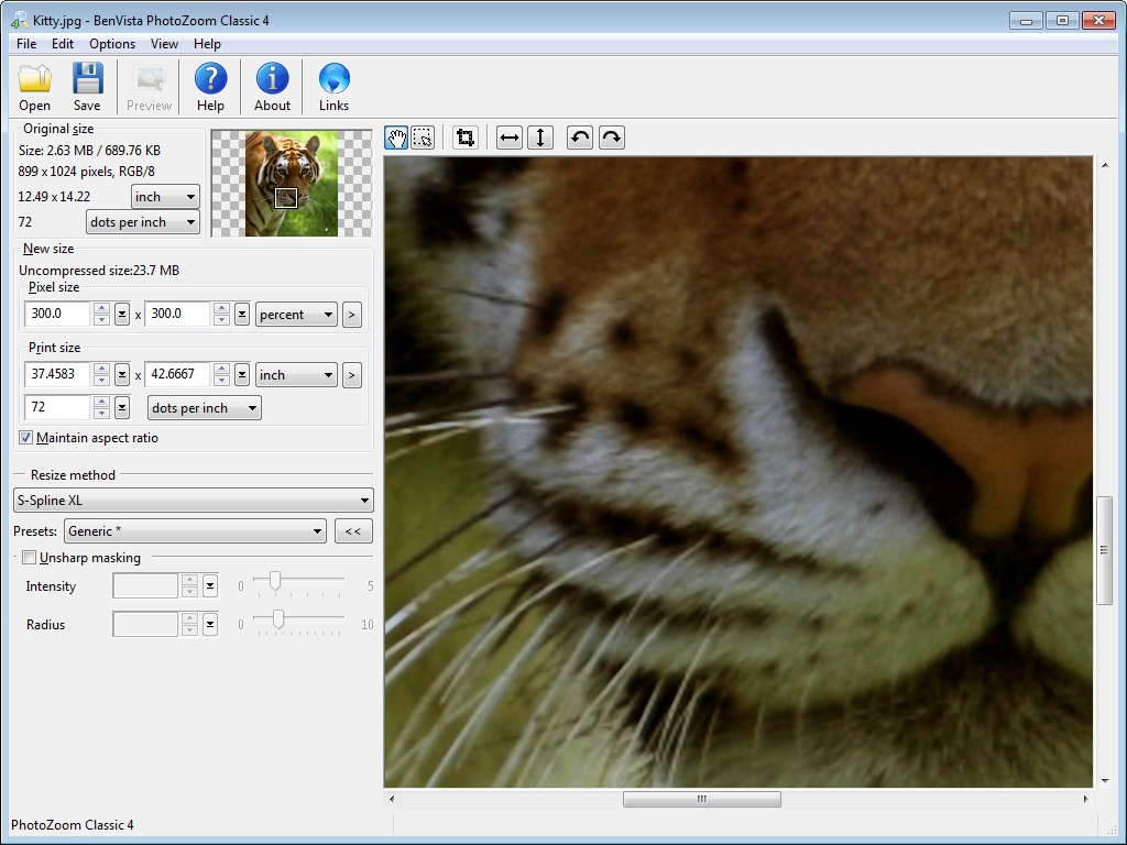 Click to view PhotoZoom Classic 4.1.2 screenshot