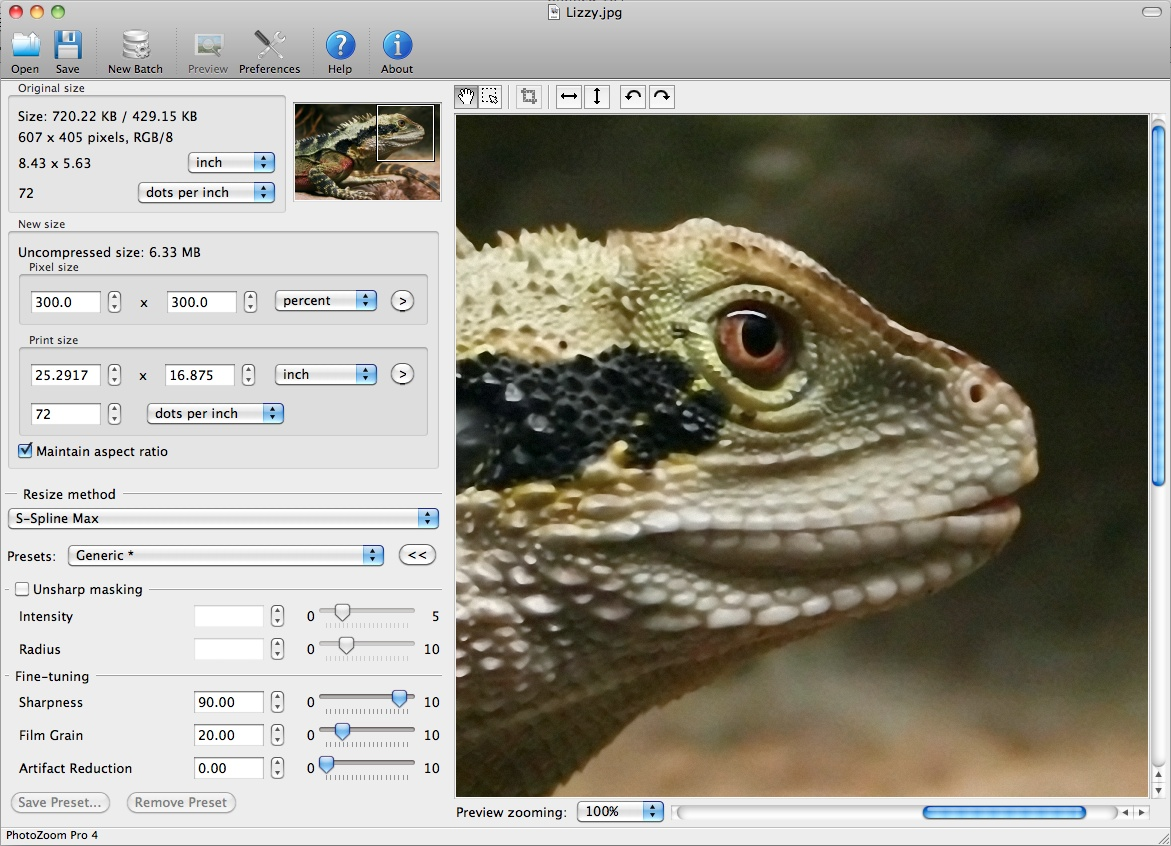 PhotoZoom Pro 4 for Mac 4.1.4