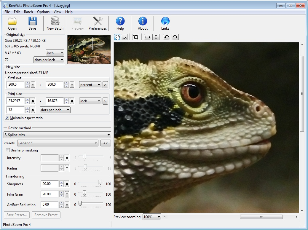 Software for enlarging digital images, using S-Spline Max (for Mac and Windows)